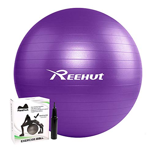 REEHUT Anti-Burst Core Exercise Ball w/Pump & Manual for Yoga, Workout, Fitness (Purple, -