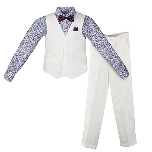 Vittorino Boy's Linen Look 4 Piece Suit Set With Vest Pants Shirt and Tie, White - Floral, ()