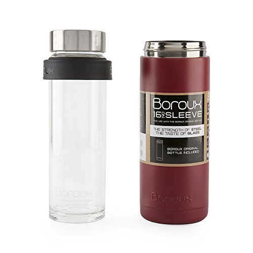Boroux SLEEVE-Insulated Thermos Water Bottle .5 LITER. Handmade Pure Borosilicate Glass Water Bottle with DOUBLE WALLED STAINLESS STEEL VACUUM SEALED PROTECTION. No Slip Grip Technology-Red