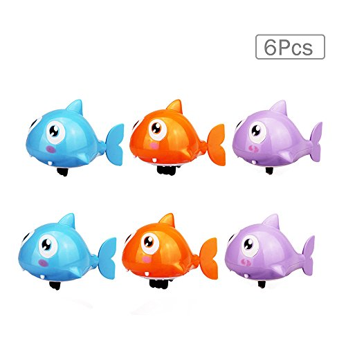 Cute Water Shark Shaped Plastic Baby Fun Water Bath Toys Swimming Toy Educational Clockwork Wind Up Animals Bathtub Toy Classical Floate Toy for Baby Toddlers Kids(6 pcs,Random Color)