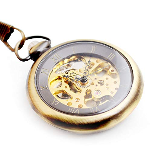 (BOSHIYA Mens Vintage Skeleton Gem Mechanical Pocket Watch Steampunk Windup Half Hunter with Chain (Open face -)