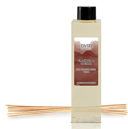 LOVSPA Black Tea & Cognac Reed Diffuser Refill Oil with Replacement Diffusing Scent Sticks - Aromatic Blend of Black Tea Leaves, Cognac, Tobacco, Amber & Vanilla, 4 oz