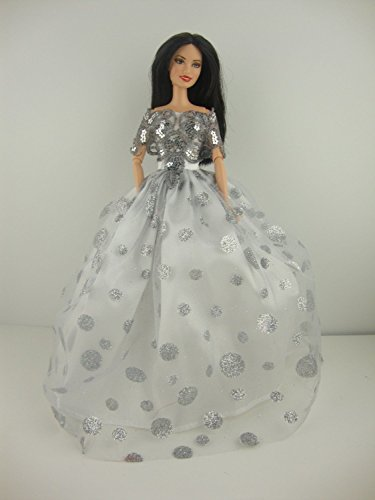 Dot Dress Glitter (White Ball Gown with Large Silver Glitter Dots and Fancy Bodice Made to Fit Barbie Doll)