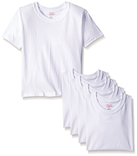 Hanes Boys' Toddler 5-Pack Crew, White, 4