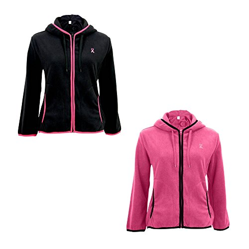 Cancer Breast Fleece (Pink Ribbon Trimmed Polar Fleece Jacket Black 2XL)