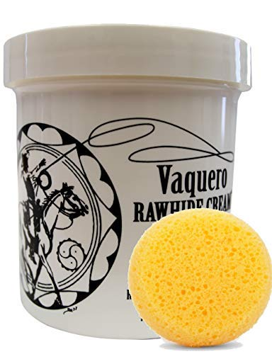 Ray Holes Leather Care Products Vaquero Rawhide Cream with Leathercraft Applicator Sponge Included, Ideal For Conditioning And Water-Proofing Rawhide and Other Fine and Exotic Leathers, Pint Container