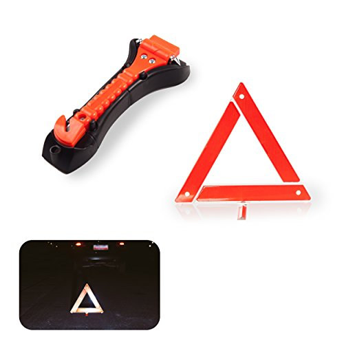 Safety Kit for Car - Warning Triangle Foldable Safety Triangle Triple Warning Kit Warning Triangle Reflector Roadside Hazard Sign Triangle Symbol for Emergency and Emergency Hammer