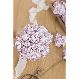 Ling's moment Artificial Flowers 25pcs Lilac Gardenias Flowers w/Stem for DIY Wedding Bouquets Centerpieces Arrangements Party Baby Shower Home Decorations 4