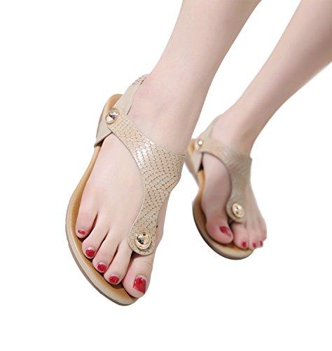 ZOEREA Damen Sandalen Flach Sommerschuhe T-Spange Mädchen Zehentrenner Glattleder Beige 004