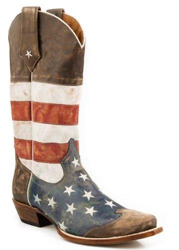 ROPER Men's American Flag Snip Toe, Brown 11 D - Medium