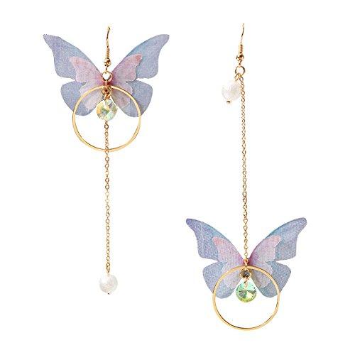 Earrings Butterfly Pearl Bow with feathers Tassels Earrings,Fashion Asymmetric Jewelry for Women