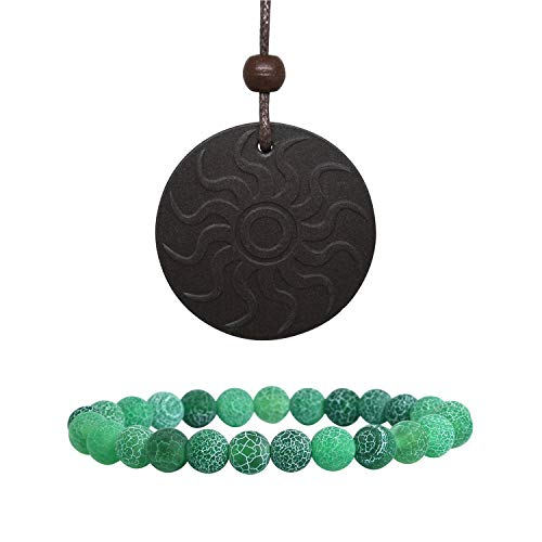 Anti EMF Radiation Protection Pendant, Scalar Energy Pendant Volcanic Lava Negative Ions Energy Pendant Necklace Orgone Pendant and 8mm Natural Colored Weathered Stone Beads Bracelet from EneQutum