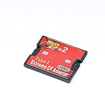 QUMOX Dual Port Micro SD/SDXC TF para Compact Flash CF Tipo 1 Lector de Memorias Adaptador.