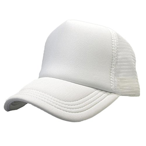 [DZT1968 Men women summer Casual Mesh Baseball Cap Adjustable Sun Hat (White)] (Cute Halloween Gifts For Coworkers)
