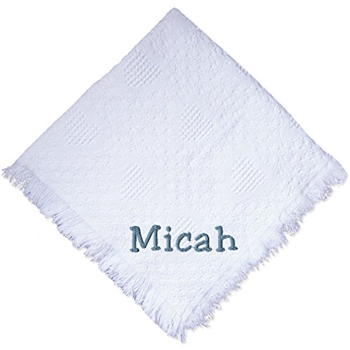 Custom Embroidered Monogrammed Boy White Cotton Woven Personalized Baby Blanket