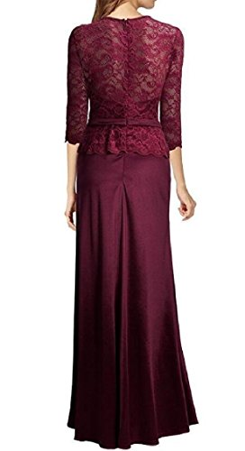 Evening Maweisong 4 Mermaid Women's Gown Dresses 3 Long Wine Sleeve Red x1X1qEr