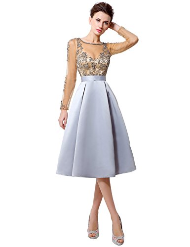 Sarahbridal Women's Tea Length Prom Dresses Sheer Mother Of Bride Gowns Long Sleeve Gray US6