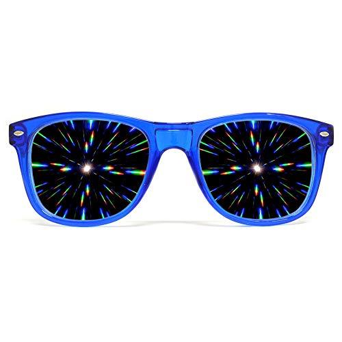 GloFX Ultimate Diffraction Glasses - Transparent Blue - 3D Prism Firework Grating (Glass Painting Etched)