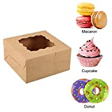 Moretoes 24pcs 6x6x3in Brown Bakery Boxes Pastry
