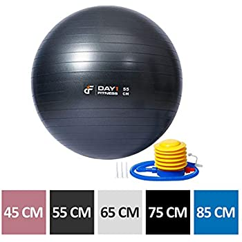 Yoga Exercise Ball by Day 1 Fitness Available in 5 SIZES (45-85cm) with Foot Pump, Resists up to 2200lbs - Extra-Thick, Anti-Burst Stability Ball for ...