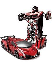 2.4G R/C Car Robot Electric Transformation Remote Control Children Kids Toys -Red