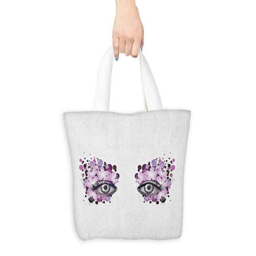 Ladies casual canvas bag Eyelash Fantasy Look with Abstract Floral Makeup Design Dots Violet Summer Blossoms Cosmetic bag 16.5