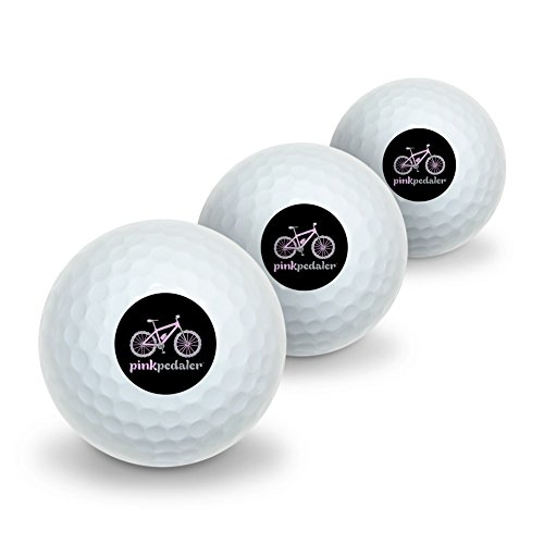 Graphics and More Pink Pedaler Mountain Bike Bicycle Logo Novelty Golf Balls 3 Pack by Graphics and More