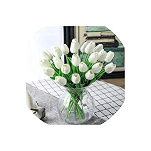 Old street 31pcs/lot Tulip Artificial Flowers Wedding Decor Simulation Bride Bouquet pu Calla Real Touch Flores para for Home Garden Decor 88