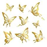 Decowall,DWG-601N_GO,Modern Butterfly Graphic Kids Wall Decals Wall Stickers Peel and Stick Wall Stickers for Kids Nursery Bedroom Living Room (Gold)