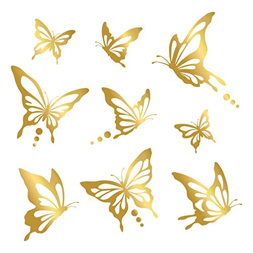 Decowall,DWG-601N_GO,Modern Butterfly Graphic Kids Wall Decals Wall Stickers Peel and Stick Wall Stickers for Kids Nursery Bedroom Living Room (Gold) by Decowall