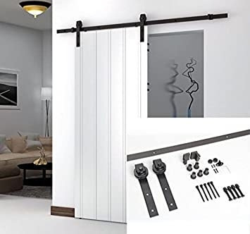 Unionline American Style 6.6 Ft Sliding Wood Barn Door Steel Hardware Dark  Brown Sliding Track Kit