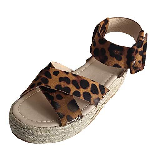 Tantisy ♣↭♣ Women's Ankle Strap Platform Wedges Sandals Casual Open Toe Espadrilles Sandals for Summer/6cm Brown ()