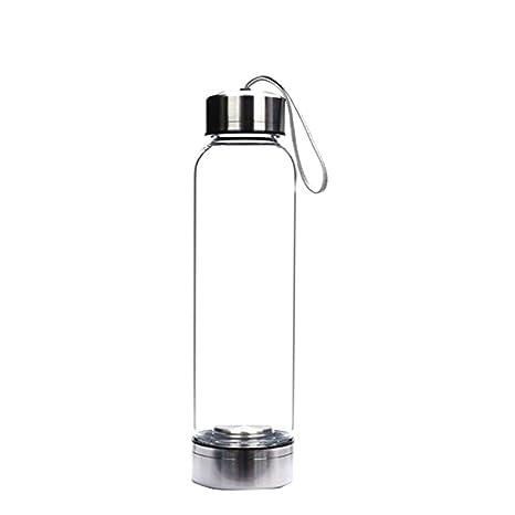 Bibao - Botella de agua de cristal con bolsa, 500 g, cristal de gema de viaje, botellas de curación de agua decoradas con varita de cristal de cuarzo natural, 500g, g, 43453:
