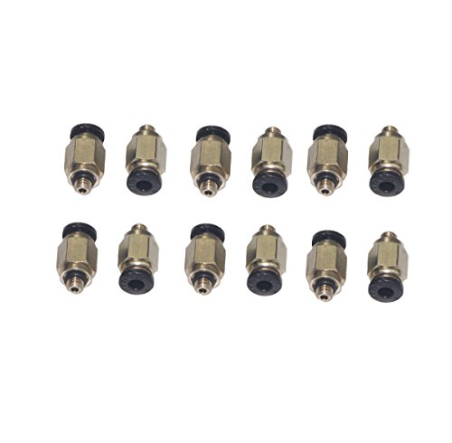 Haobase 12Pcs 5mm Male Thread 4mm Push in Joint Pneumatic Connector Quick Fittings