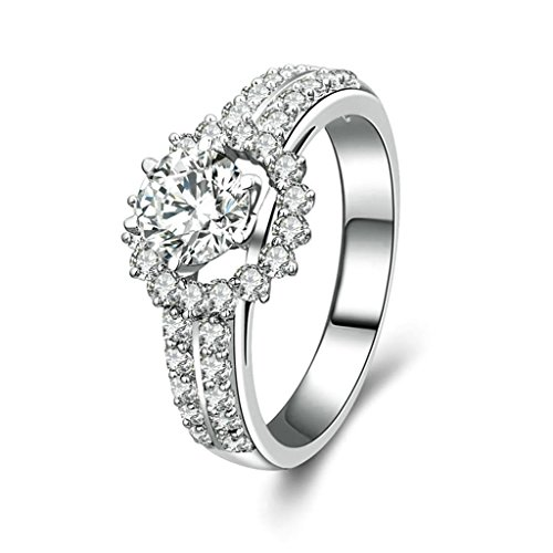 [Women Wedding Rings Silver Plated Sun Flower CZ Personalized Rings Custom Made Size 10 by Aienid] (Parrot Costume Wings)