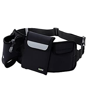 EOTW Running Hydration Belt Hiking Waist Pack Fanny Belt Bum Bag Cellphone Waistband Water Belt Pocket Waist Bottle Holder Sport Fitness Belt For iPhone 7 6 6S Plus Samsung Galaxy S7 S6 Edge Black