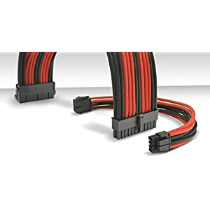 Thermaltake TtMod Sleeve Extension Power Supply Cable Kit ATX/EPS/8-pin PCI-E/6-pin PCI-E with Combs, Red/Black AC-033…