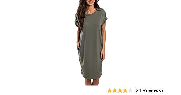 3b6cff6854a Imysty Womens Summer Casual Midi Dress Short Sleeve Crew Neck Tunic T-Shirt  Dresses with Pockets (Small, Army Green) at Amazon Women's Clothing store: