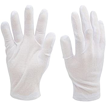 HipGirl Brand 12 Pairs Women 7-8'' Soft White Lightweight Cotton Coin Jewelry Film Silver Inspection Inspector Work Gloves. Size Small