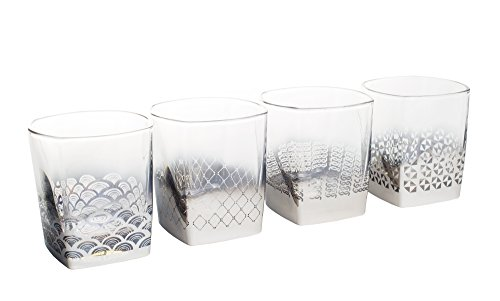 7.5 Ounce Metallic Whiskey Glasses with Silver Geometric Detail Set of 4