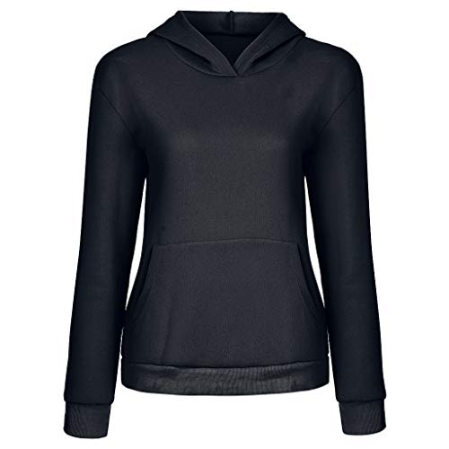 Aunimeifly Ladies Stylish Pure Color Hoodie Women Pocket Hooded Sweatshirt Long Sleeve Pullover Tops Shirt(2XL,Black) (Light Led Pool White Pure)