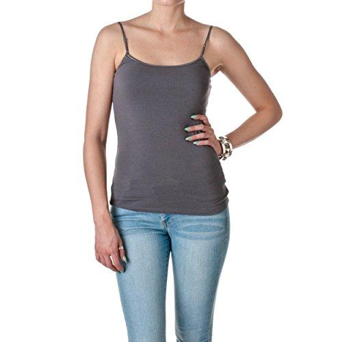 Active Basic Womens Shelf Bra Adjustable Spaghetti Strap Tank, Charcoal Grey, Medium