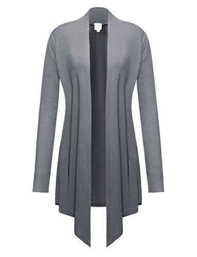 Long Three Button Cardigan (Regna X Open Front wrap Lightweight Long Cardigans for Women Plus Size Grey XXL)