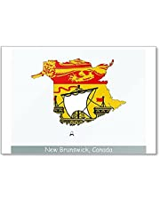 New Brunswick Map Flag. Map of New Brunswick Flag Fridge Magnet