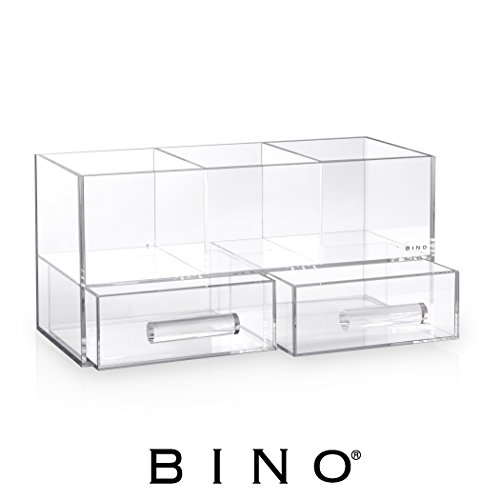 BINO Acrylic Jewelry and Makeup Organizer with 2 Removable Drawers, - Clear and Transparent Cosmetic Storage Display Chest Box Case by BINO