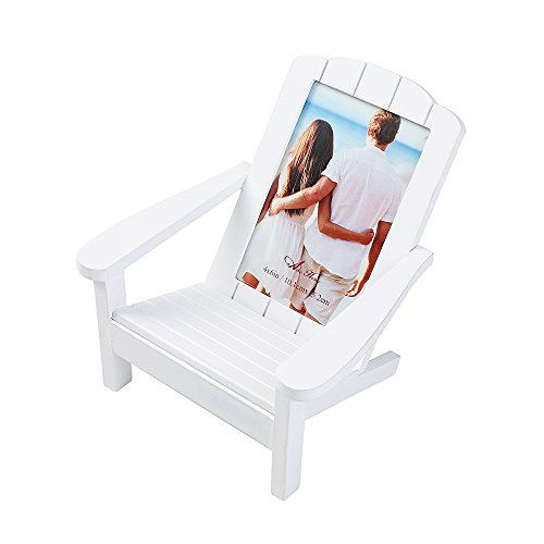 Aike Adirondack Chair Wooden Picture Photo Frame Beach Shoreline Dimensional Décor on Desk Table White 4 by 6 inch with Real Glass