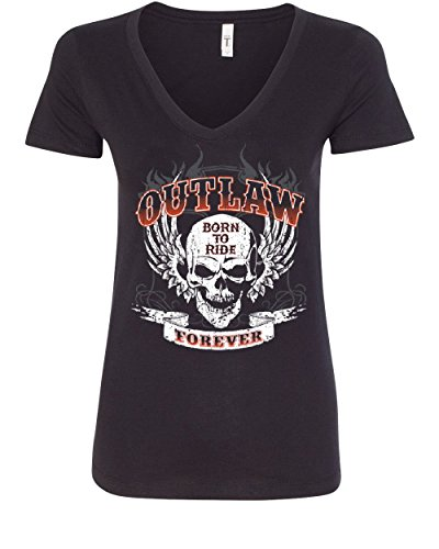 Outlaw Forever V-Neck Tee Born To Ride MC Chopper Bobber Tee Black L - Choppers Forever Black T-shirt