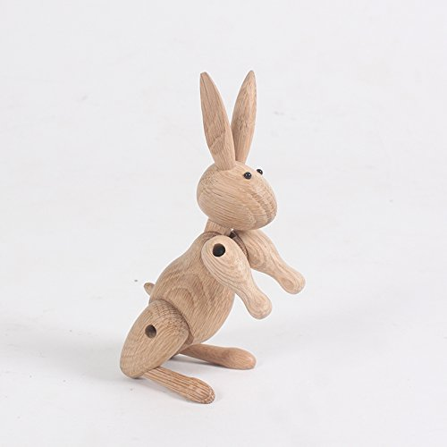 Nordic Style Teak Wood Creative Animal Statues Models Home Decoration Arts and Crafts (Rabbit)