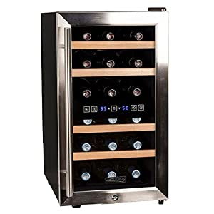 koldfront 18 bottle free standing dual zone wine cooler black and stainless steel