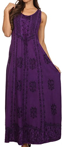 Sakkas 15229 - Stella Long Tank Top Adjustable Caftan Corset Dress with Embroidery - Purple - L/XL]()
